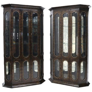 Pair of Mastercraft Burlwood and Glass Curio Display Cabinets Vitrines Etageres For Sale