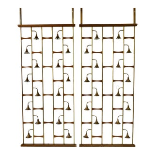 Midcentury Brass with Walnut Spring Loaded Light Up Room Dividers - a Pair For Sale