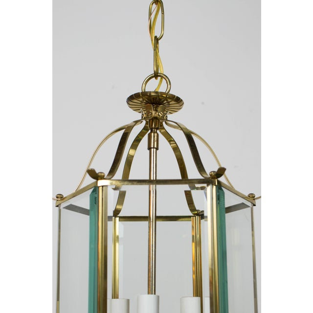 Hexagonal Beveled Glass Lantern. Flush Mount. Three light cluster. Has been cleaned and completely rewired. Ready to hang....