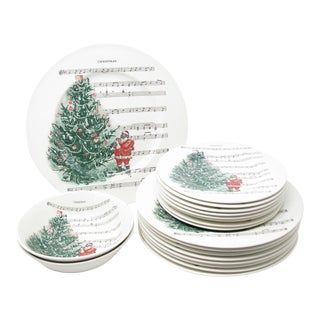 Carly Dodsley Christmas Tree Dinnerware Set Made in England - 19 Pieces For Sale