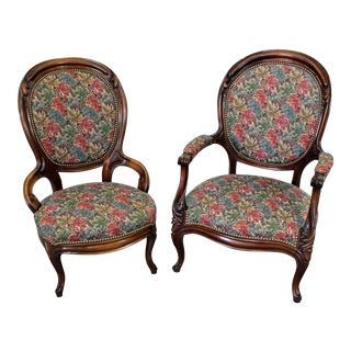 Pair of Victorian Parlor Set Ladies & Gentleman Chairs For Sale