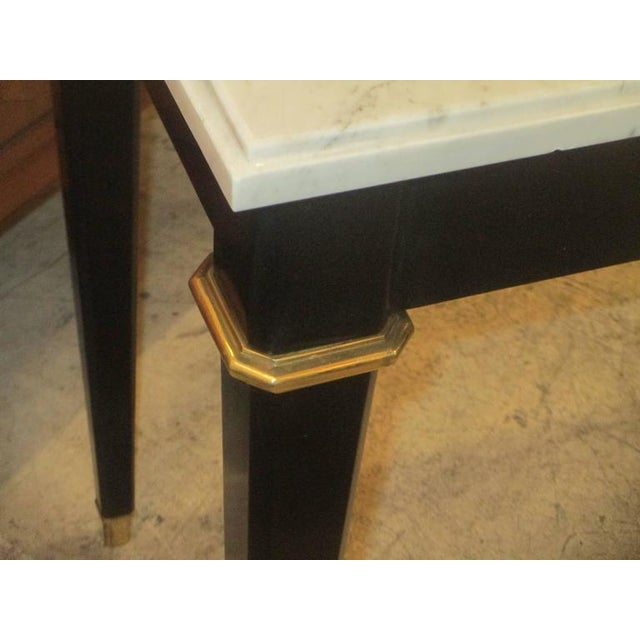 Bronze Ebonized Console With Marble Top Attributed to Maison Jansen For Sale - Image 7 of 9