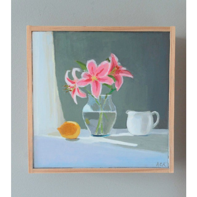 The Lilies are from my garden. I like the beautiful combination with a Lemon. This painting is original, painted from life...