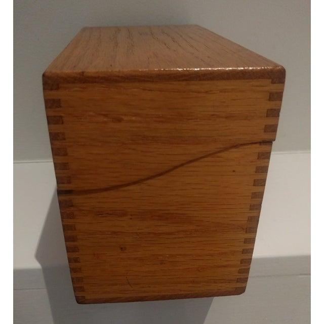 Vintage Golden Oak Wooden Index Box - Image 5 of 7