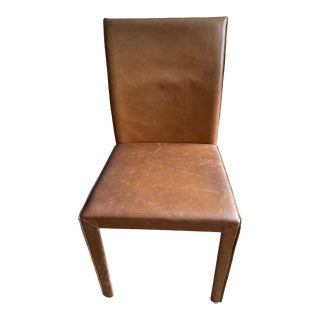 Crate & Barrel Folio Whiskey Top Grain Leather Dining Chair For Sale