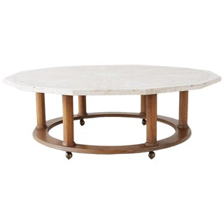 Henredon Mid-Century Modern Travertine Coffee Cocktail Table For Sale