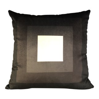 Modern Handmade Black and White Geometric Print Velvet Pillow For Sale