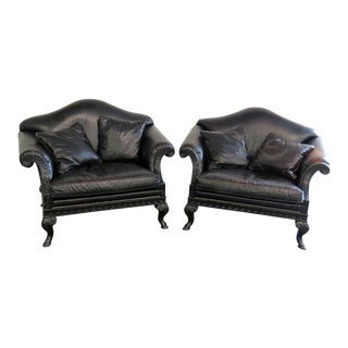 Pair of Stanford Oversized Leather Armchairs For Sale