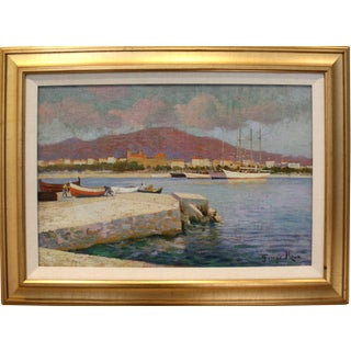 Early 20th Century Landscape Painting of Southern French Port by Painter and Illustrator George Roux For Sale