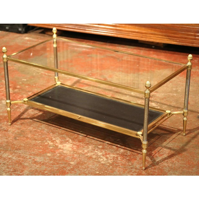 Mid-20th Century French Brass Steel and Leather Coffee Table from Maison Jansen - Image 2 of 9
