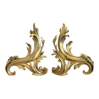 19th Century Louis XV Bronze Chenets/Andirons - a Pair For Sale