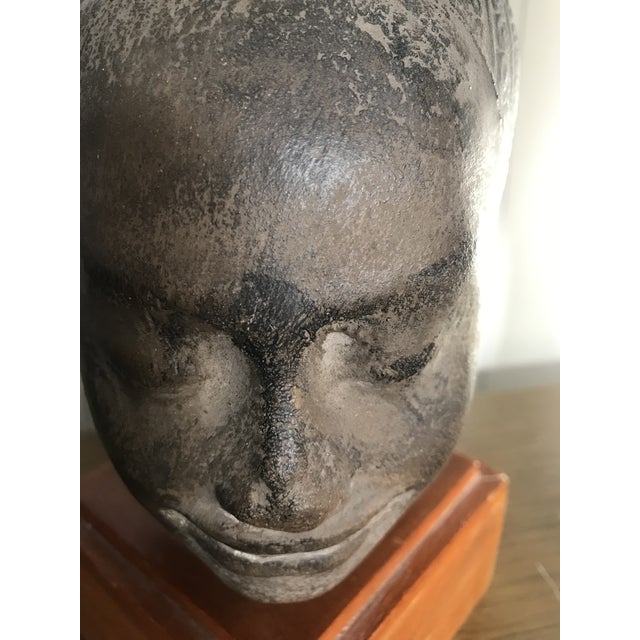 1930s Early 20th Century Antique Cambodian Head of Buddha on Wooden Base For Sale - Image 5 of 8