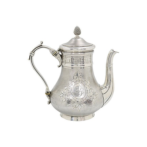 Metal Antique French Christofle Silver-Plate Coffee Pot For Sale - Image 7 of 7