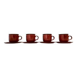 West German Ceramano Coffee Cup and Saucers in Sunset Orange - Set of 4