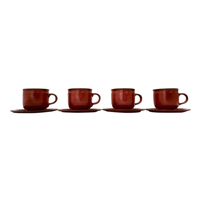 West German Ceramano Coffee Cup and Saucers in Sunset Orange - Set of 4 For Sale