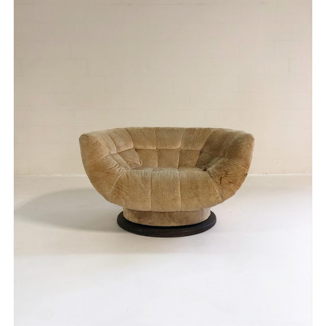 Yellow Adrian Pearsall Swivel Lounge Chair in Loro Piana Velvet For Sale - Image 8 of 11