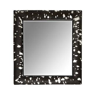Contemporary Black & Silver Metallic Hide Mirror For Sale