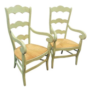 Country French Ladderback Rush Seat Arm Chairs - a Pair For Sale