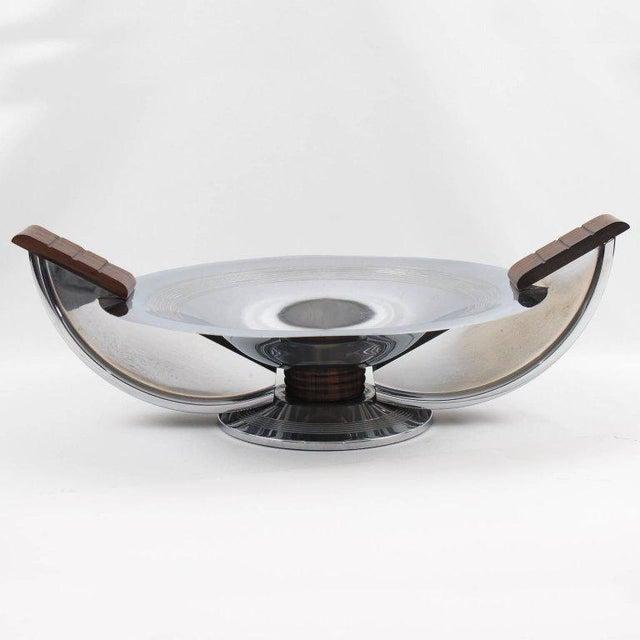 French Massabova Art Deco Chrome Macassar Centerpiece Bowl - Image 4 of 11