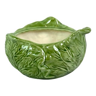 Mid- Century Ceramic Green Cabbage Bowl Planter For Sale