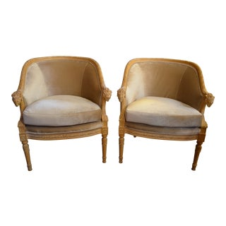 Early 19th Century Antique Rams Head Neoclassical Style Barrel Back Bergere Chairs- A Pair For Sale