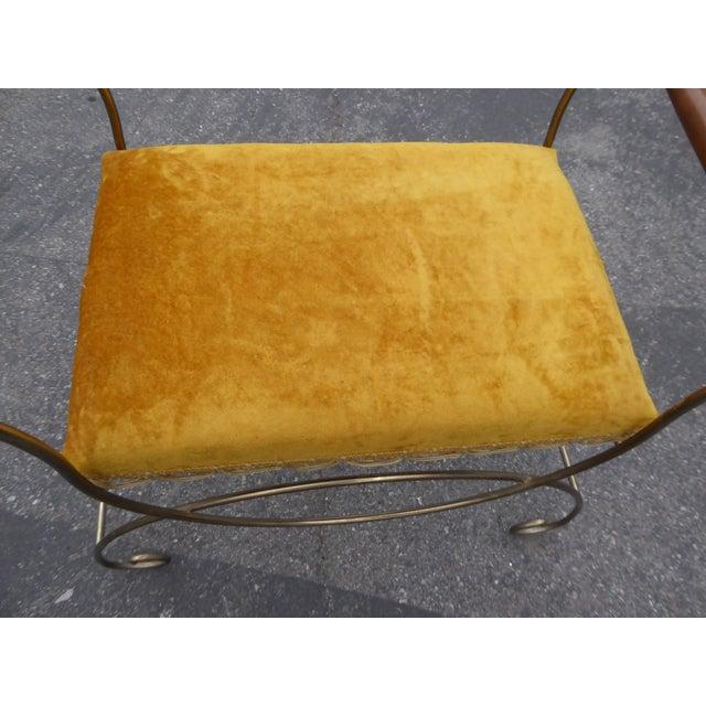 Vintage Hollywood Regency Gold Velvet Vanity Chair - Image 8 of 10