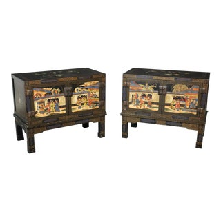 Early 20th Century Chinoiserie Paint Decorated Chests - a Pair For Sale
