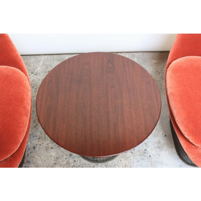Pair of Warren Platner for Knoll Bronze and Mohair Lounge Chairs With Side Table For Sale - Image 9 of 13