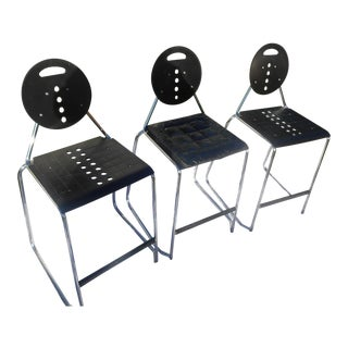 Vintage Loewenstein Designer Black & Chrome Counter/Bar Stools - Set of 3 For Sale
