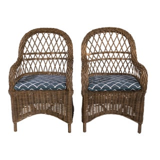 21st Century Vintage Rattan Chairs- A Pair For Sale