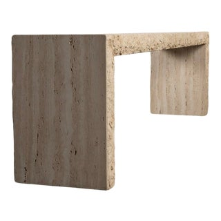 Italian Travertine Stone Console Table For Sale