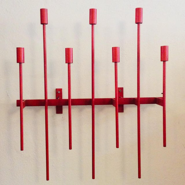 Mid-Century Modern Don Drumm Red Wall Sconce Candelabra For Sale - Image 9 of 9
