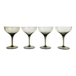 Mid Century Gray Coupe Glasses - Set of 4 For Sale