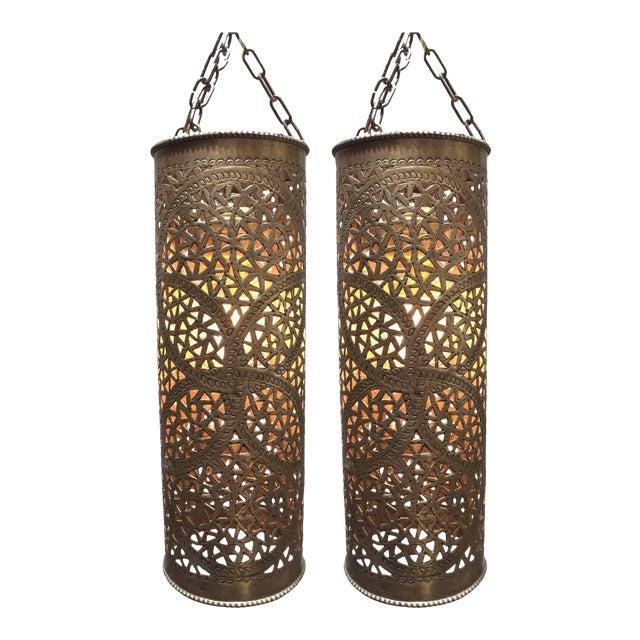 Pair of Moroccan Brass Pendants Lights with Moorish Filigree Designs For Sale