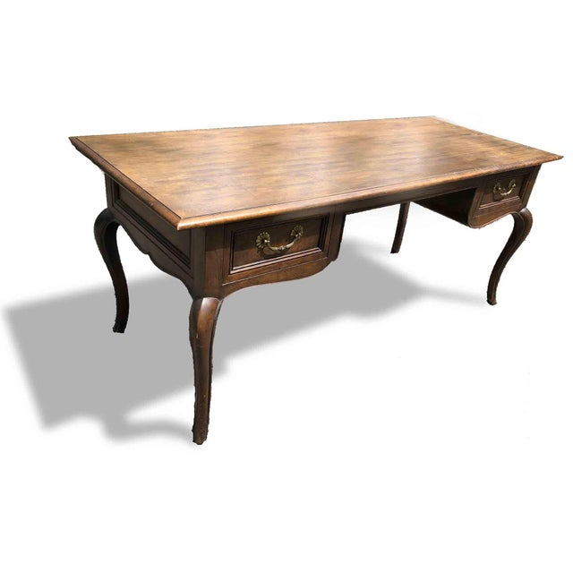 Art Nouveau 1970s Queen Anne Baker Furniture Mahogany Writing Desk For Sale - Image 3 of 8