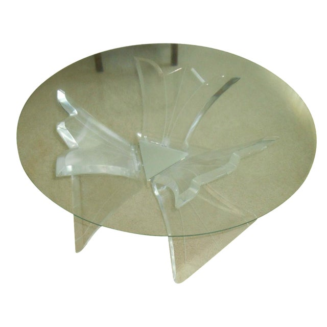 Mid-Century Thick Lucite Flower Base & Glass Coffee Table For Sale