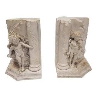 Vintage English Angel Bookends For Sale