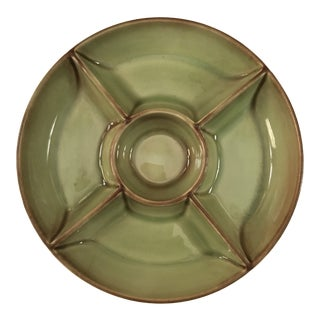 "Late 20th Century Green Glazed Art Pottery Serving Dish 10"" For Sale"