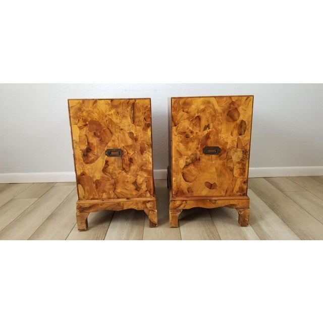 1960s Italian Campaign Style Burlwood Patch Chest / Nightstands - a Pair For Sale - Image 5 of 13