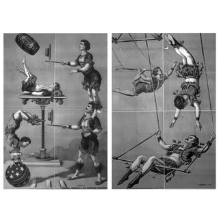 1800s Men of Many Talents Circus Prints - Pair