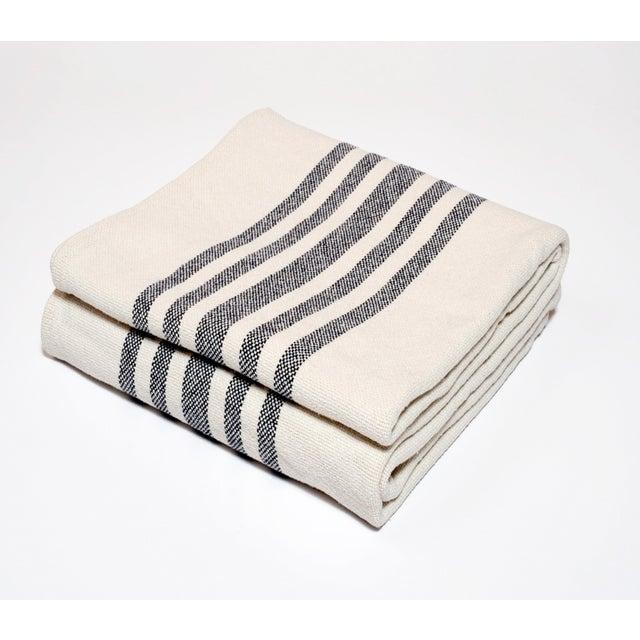 Contemporary Contemporary Merino Wool Collection Indigo Stripe Throw For Sale - Image 3 of 3