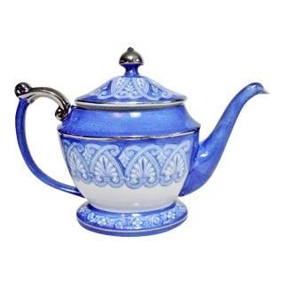 Blue and White Silver Accents Bombay Teapot For Sale