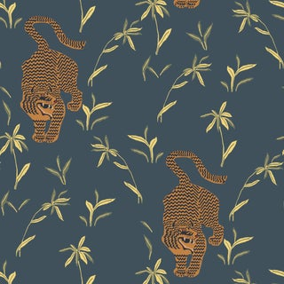 Mitchell Black Home Stalking Tiger Black Moss Prepasted Wallpaper For Sale