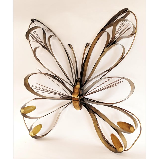 Mid-Century Modern Curtis Here 1974 Mid-Century Modern Brass Butterfly Wall Sculpture For Sale - Image 3 of 13