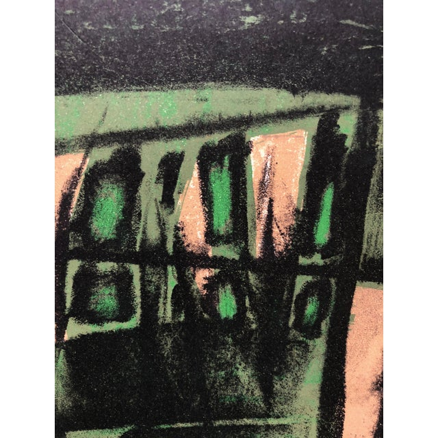 Abstract Jerry Opper Mid Century Bay Area Abstract Expressionism in Greens For Sale - Image 3 of 5