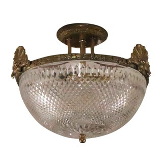 Vintage Salvaged Waldorf Ornate Cast Brass Semi Flush Fixture For Sale