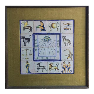 Framed Mid-Century Modern Zodiac Tiles For Sale