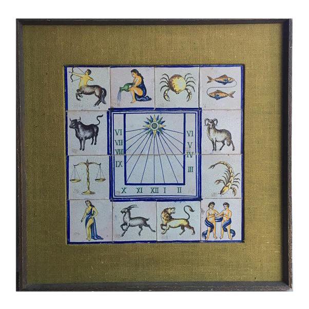 Framed Mid-Century Modern Zodiac Tiles For Sale