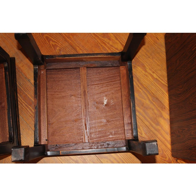 1960s 1960s Black Chinese End Tables - a Pair For Sale - Image 5 of 7