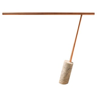 Original Copper Marble Table Lamp Signed by Adam Ruiz & Cyril Fuchs For Sale